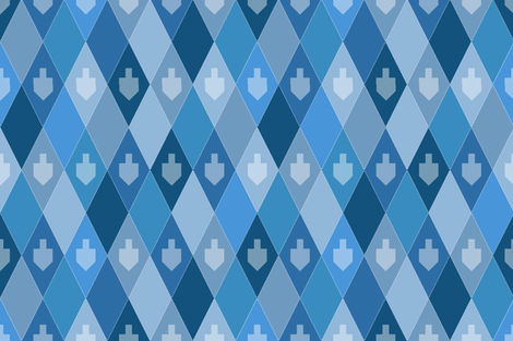 Hanukkah Dreidel Argyle fabric by pigsinpajamas on Spoonflower - custom fabric