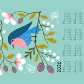 Robin Floral tea towel calendar 2020