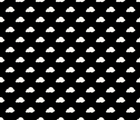 Black and white clouds fabric by littlefancypants on Spoonflower - custom fabric