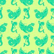 sea monsters and mermaids teal on green