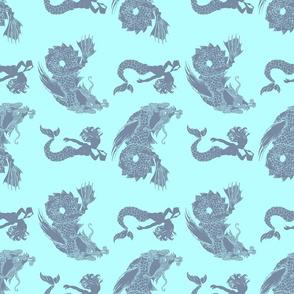 sea monsters and mermaids blue on blue