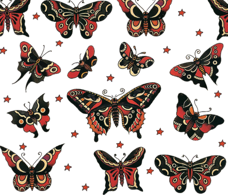 Butterfly Flash Tattoos fabric by ampersand_designs on Spoonflower - custom fabric