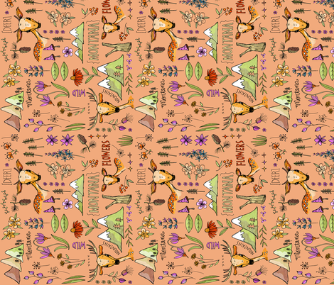 Wild and Deer in Montana - peach sideways fabric by mulberry_tree on Spoonflower - custom fabric