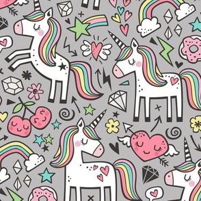 Unicorn & Hearts Rainbow  Love Valentine Doodle on Grey