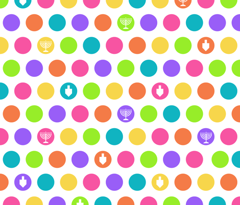 Rainbow Hanukkah Dots fabric by pigsinpajamas on Spoonflower - custom fabric