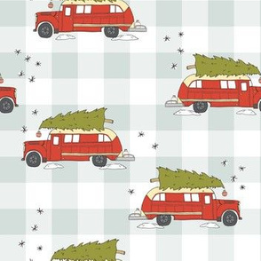 VINTAGE CHRISTMAS BUS PATTERN