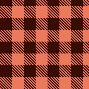 Buffalo Plaid - Brown/Coral