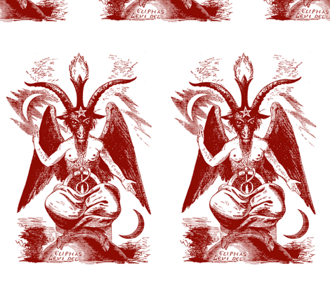baphomet dark red/white fabric by starlings_law on Spoonflower - custom fabric