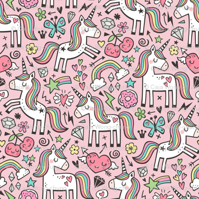 Unicorn & Hearts Rainbow  Love Valentine Doodle on Light Pink