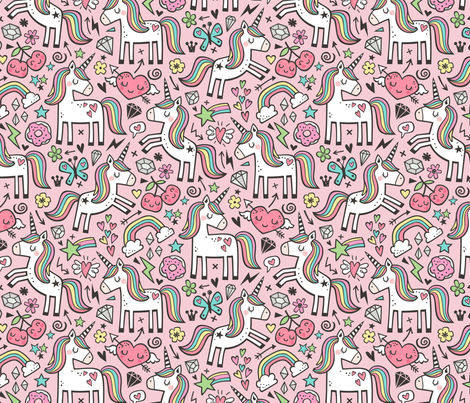 Unicorn & Hearts Rainbow  Love Valentine Doodle on Light Pink fabric by caja_design on Spoonflower - custom fabric