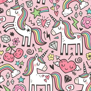 Unicorn & Hearts Rainbow  Love Valentine Doodle on Light Pink