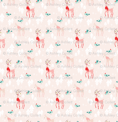 Christmas Woodland Animals Pink