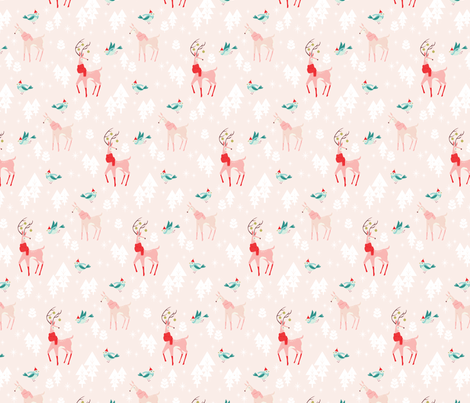 Christmas Woodland Animals Pink fabric by acdesign on Spoonflower - custom fabric