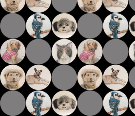 Cute animal drawings in circles, black and grey fabric by lntift on Spoonflower - custom fabric
