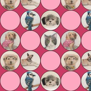 Cute animal drawings in circles,  pinks