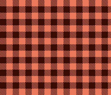 Buffalo Plaid - Coral and Brown - Small fabric by mariafaithgarcia on Spoonflower - custom fabric