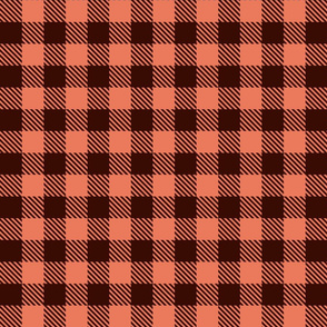 Buffalo Plaid - Coral and Brown - Small