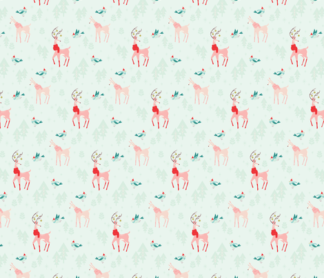 Pattern_Animals_SP_mint-01 fabric by acdesign on Spoonflower - custom fabric