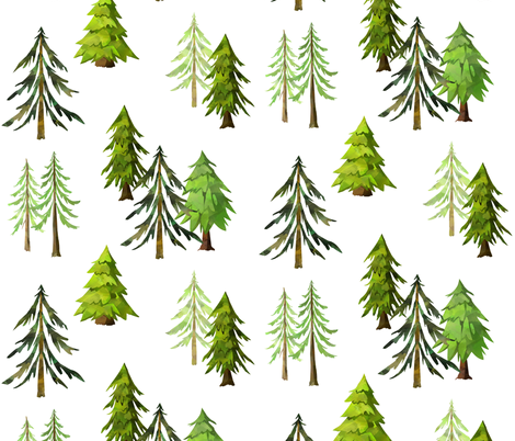 Pine Tree Forest - Woodland Trees LARGE SCALE A fabric by gingerlous on Spoonflower - custom fabric