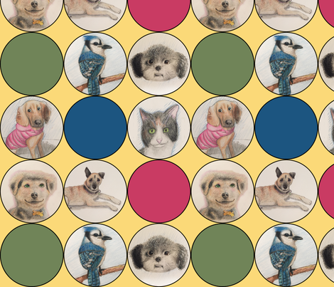 cute animal drawings in circles_ multi fabric by lntift on Spoonflower - custom fabric