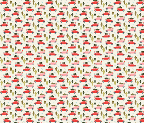 Christmas Car Cream fabric by acdesign on Spoonflower - custom fabric