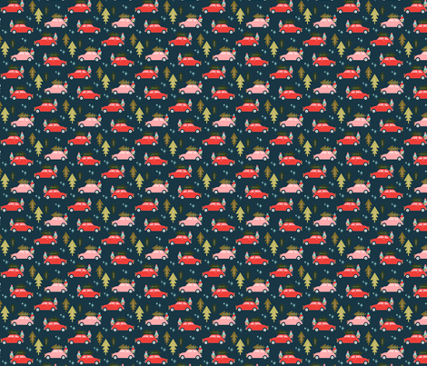 Christmas Cars Navy fabric by acdesign on Spoonflower - custom fabric