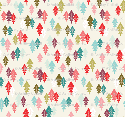 Scandinavian Christmas Trees Cream