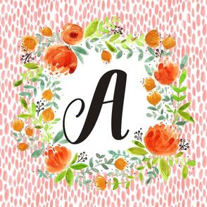 Floral Blush & Orange  Monogram Banner - A