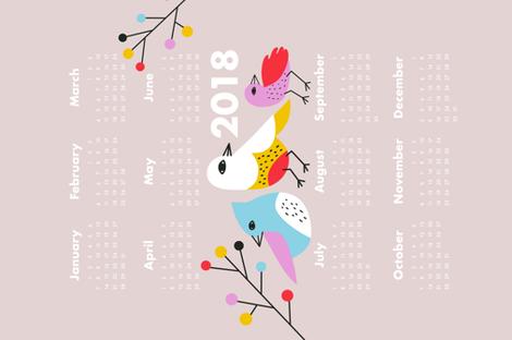 Birdie 2018 Calendar fabric by bashfulbirdie on Spoonflower - custom fabric