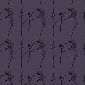 Delicate Floral Branches pon Dark Purple