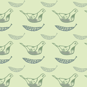 Birds and Leaves on light green