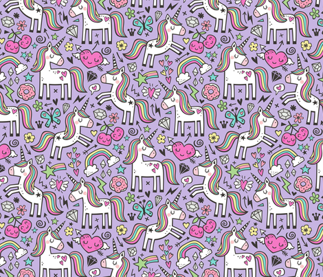Unicorn & Pink Hearts Rainbow  Love Valentine Doodle on Purple Purpel fabric by caja_design on Spoonflower - custom fabric
