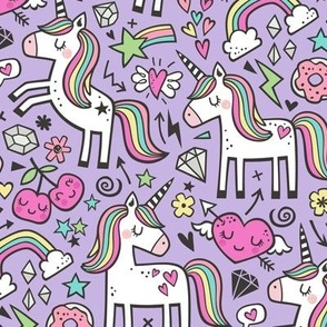 Unicorn & Pink Hearts Rainbow  Love Valentine Doodle on Purple Purpel