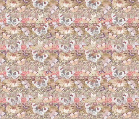Cream Mauve BUTTERFLY small fabric by delinda_graphic_studio on Spoonflower - custom fabric