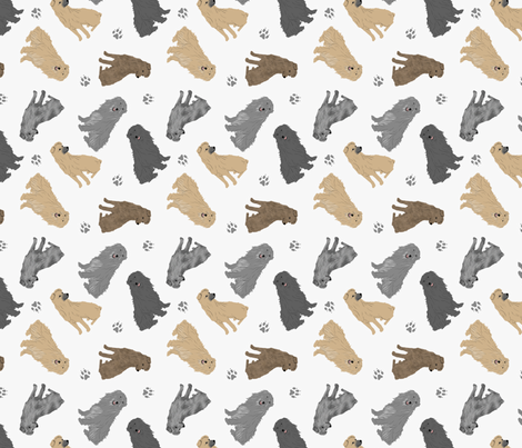 Tiny Pyrenean Shepherds - gray fabric by rusticcorgi on Spoonflower - custom fabric