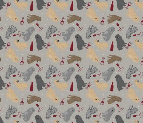 Tiny Pyrenean Shepherds - wine fabric by rusticcorgi on Spoonflower - custom fabric