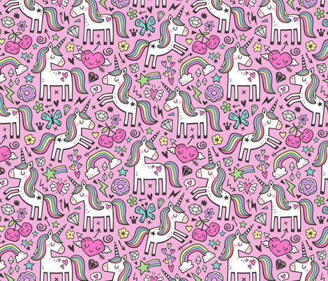 Unicorn & Pink Hearts Rainbow  Love Valentine Doodle on Magenta Pink fabric by caja_design on Spoonflower - custom fabric