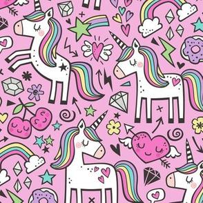 Unicorn & Pink Hearts Rainbow  Love Valentine Doodle on Magenta Pink