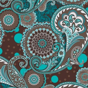 Paisley Mandala blue brown L