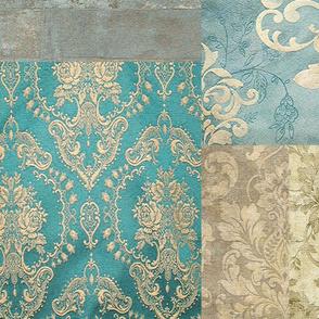 Vintage Kilim Patchwork L Cheater Fake Quilt Wholecloth