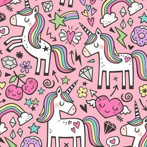 Unicorn & Hearts Rainbow  Love Valentine Doodle on Pink