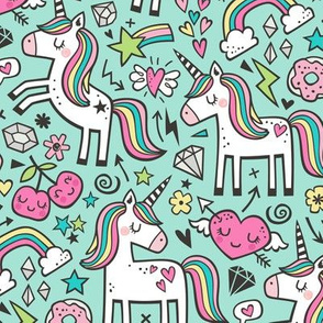 Unicorn & Hearts Rainbow  Love Valentine Doodle on Mint Green