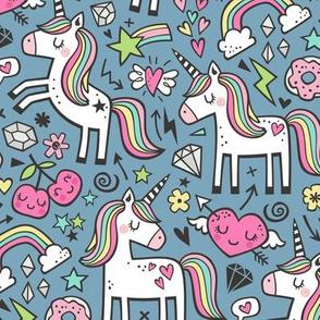 Unicorn & Pink Hearts Rainbow  Love Valentine Doodle on Dark Blue