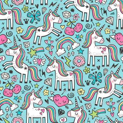 Unicorn & Pink Hearts Rainbow  Love Valentine Doodle on Blue