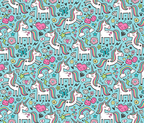 Unicorn & Pink Hearts Rainbow  Love Valentine Doodle on Blue fabric by caja_design on Spoonflower - custom fabric