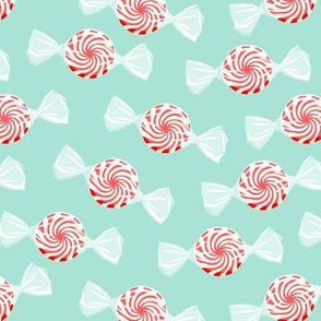 peppermint candy - red on aqua
