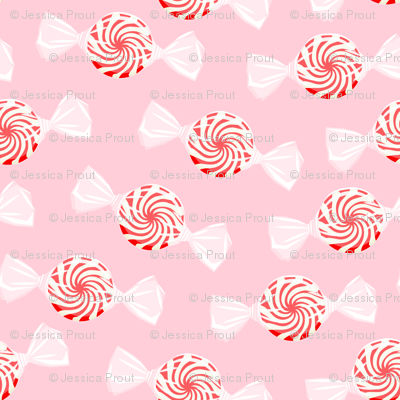 peppermint candy - red on pink