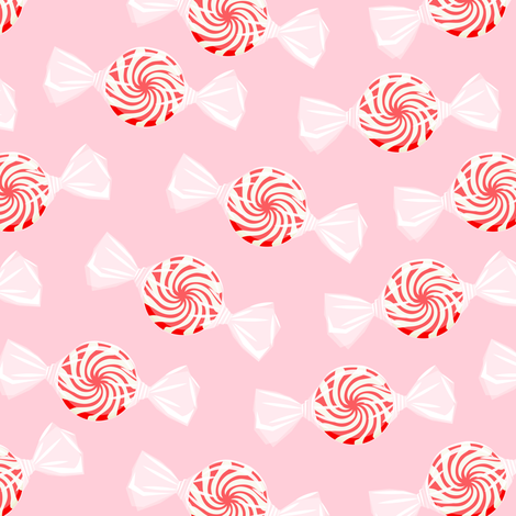 peppermint candy - red on pink fabric by littlearrowdesign on Spoonflower - custom fabric