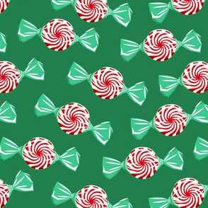 peppermint candy - dark red on green