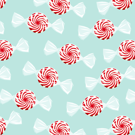 peppermint candy - dark red on dark mint fabric by littlearrowdesign on Spoonflower - custom fabric